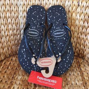 New Black Thin Havaianas Crystal Stud Sandals 9/10